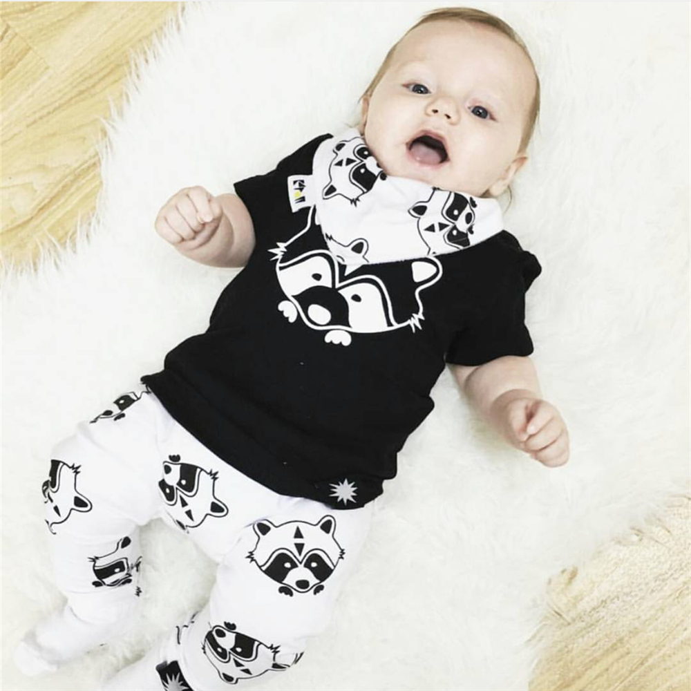 New 2018 summer baby boy girl clothes cartoon fox black ...