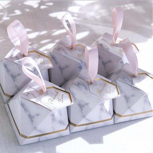50pcs 100pcs Marble Diamond Shape Paper Wedding Favor Bo Gift Cake Box With