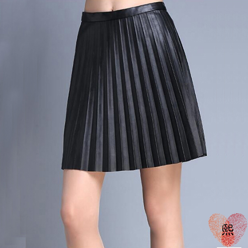 Popular Black Pleated Leather Skirt-Buy Cheap Black Pleated ...