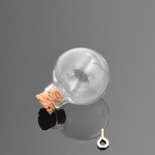 10pcs/lot 24x28mm ball transparent glass bottle with cork vial pendant fashion globe dome