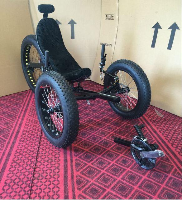 Лежачий велосипед углерода Волокно 26 дюймов сзади Уил дисковый тормоз колесная три колеса трицикл мини-компактный городской велопутешествие высокое качество
