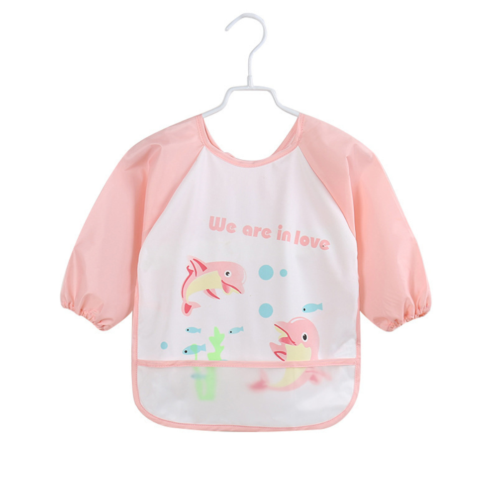 Image 5 - Lovely Baby Bibs Infant Long Sleeve Waterproof Baby Feeding Smock Apron Children Plastic Coverall Bib Toddler Newborn Bib Apron-in Bibs & Burp Cloths from Mother & Kids