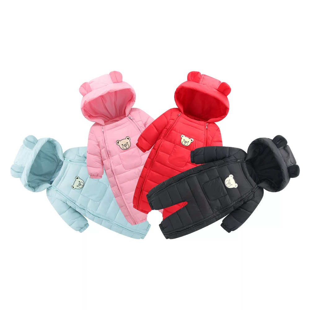 Baby Warm   Rompers   OverallsNewborn Baby Girl Boy Duck Down Winter Snowsuit Baby Cute Bear Hooded Jumpsuit Baby Outwear Clothes