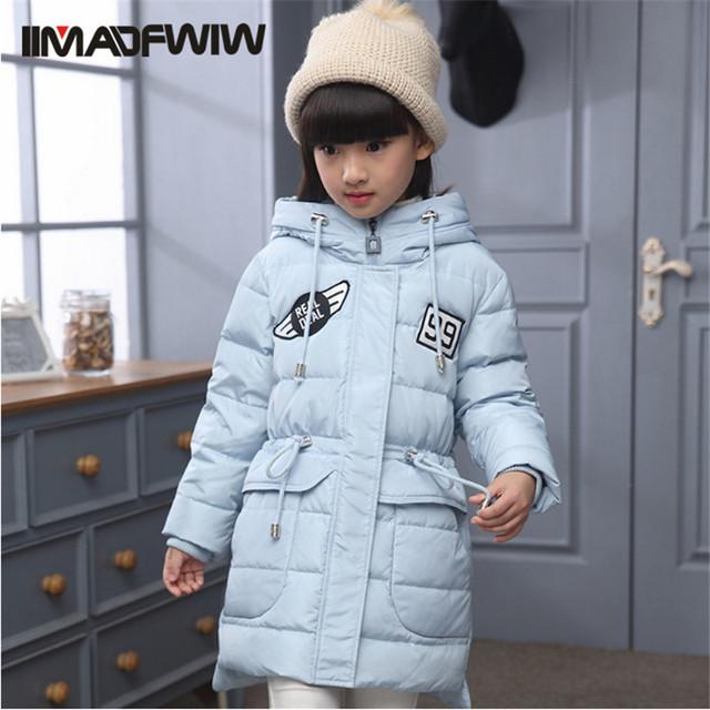 2016 Winter Boys & Girls Coat Down Jackets Children Fashion Outerwear Thick Big Fur Collar Zipper Solid Winter Clothing 120-160