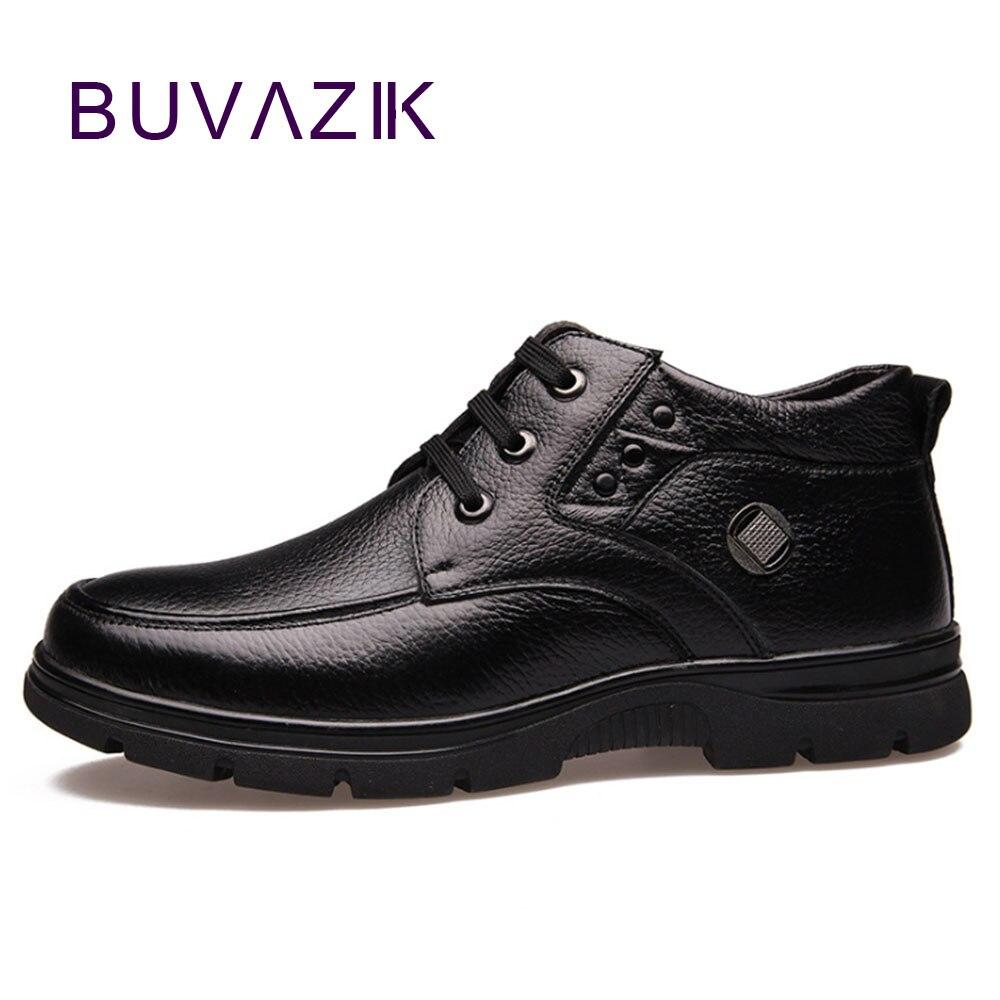 BUVAZIK botas de invierno para hombres zapatos de piel cálida botas - Zapatos de hombre