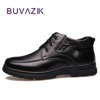 Promo BUVAZIK, botas de invierno para hombre, zapatos cálidos, botas de nieve de piel, para hombre, negro, talla grande, 39-47, zapatos cálidos de cuero genuino, botines para hombre