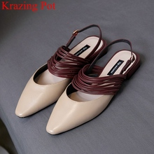 Summer Shoes Women Sandals Square Heel Ankle-Strap Mixed-Colors Fashion Krazing Pot Shallow
