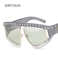 GRFISIA Oversized Sunglasses Women Luxury Brand Fashion With Pearl Red Black Gradient Sun Glasses Women UV400