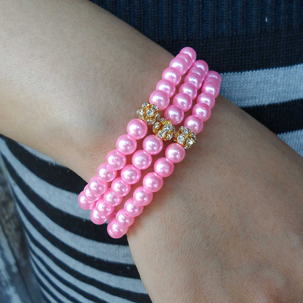 (99PCS) 10 color tension setting crystal White black gray purple green Dazzle gold pink pearl bracelets & bangles women