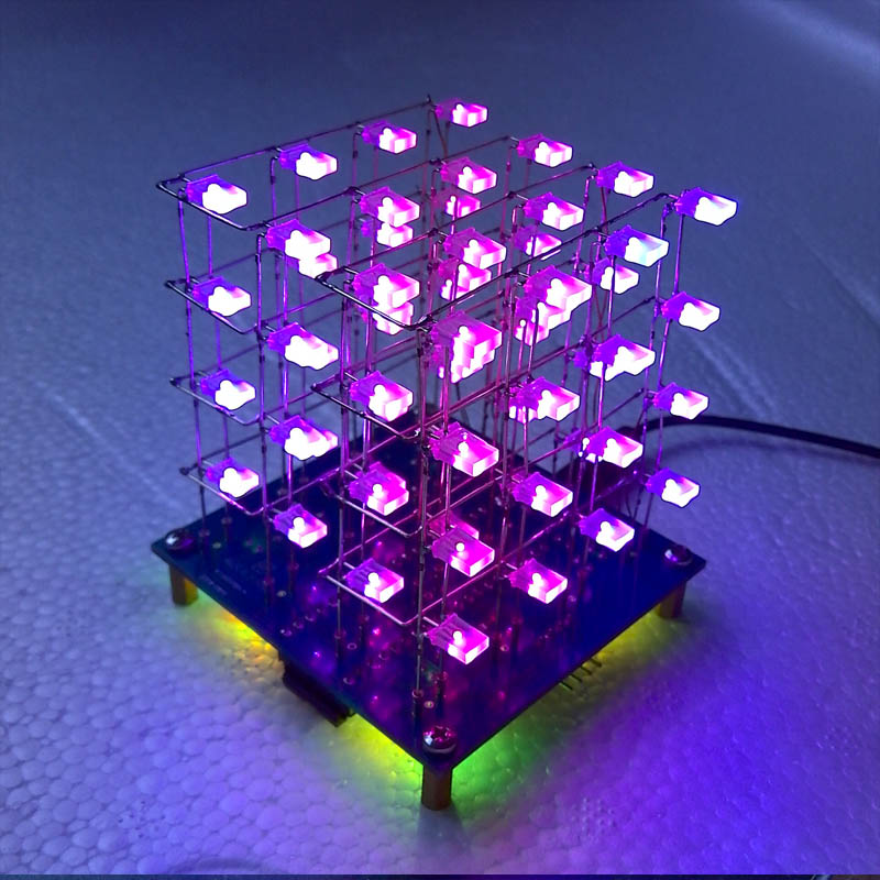 Cube4*4*4 color light cube based on 51 single-chip electronic design Light Cube DIY production suite the development of 51 single chip learning board 4 4 4 color led lightdiy electronic parts cotted production suite