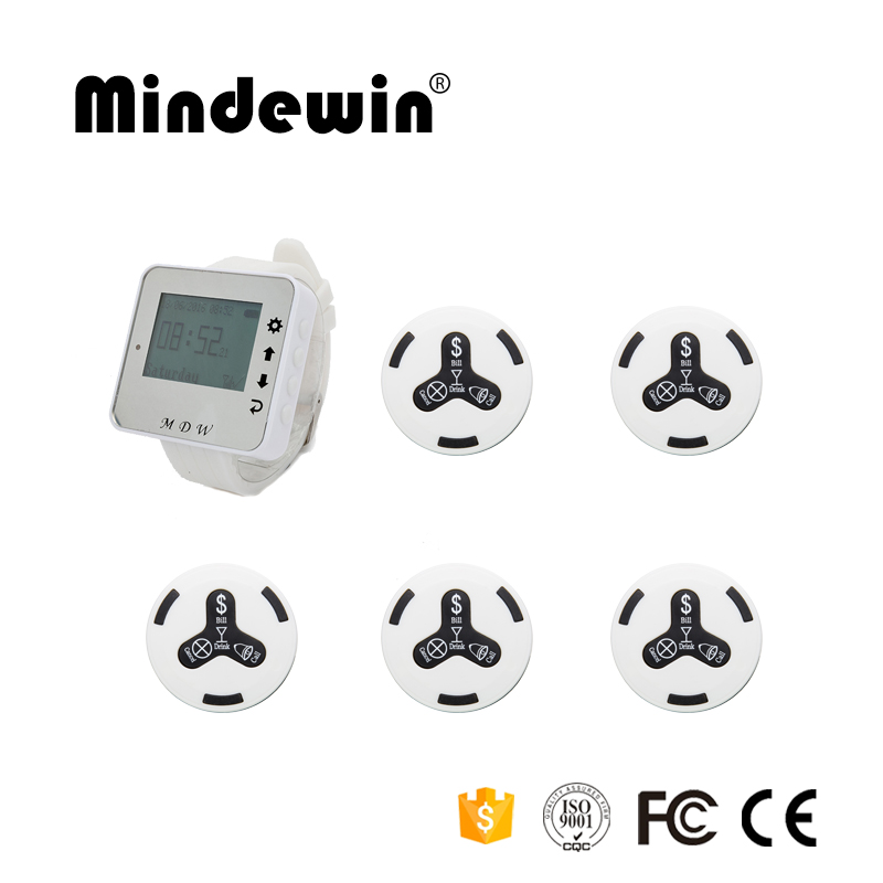 2017 High Quality Cafe Shop Calling Waiter Service 1pc M-W-1 Watch Pager + 5pcs Service Calling Bell Wireless Pager Call System 433 92mhz wireless restaurant guest service calling system 5pcs call button 1 watch receiver waiter pager f3229a