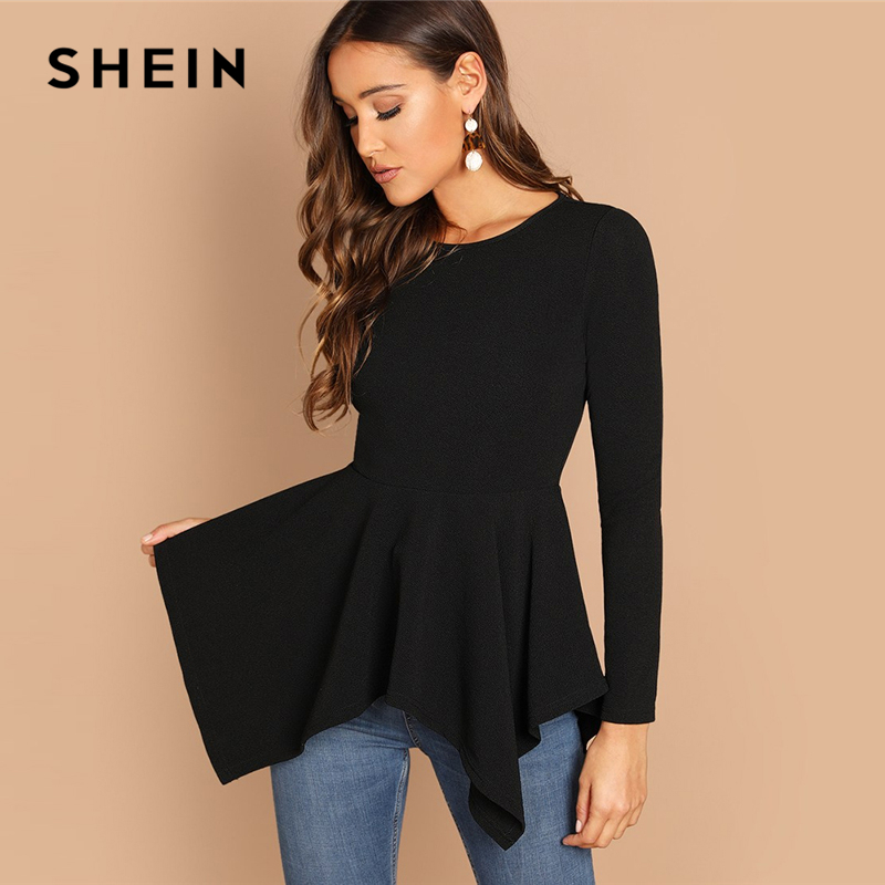 SHEIN Black Asymmetrical Hem Peplum Tee Elegant Plain Long Sleeve Round Neck Tops Women Autumn Minimalist Workwear T-shirt