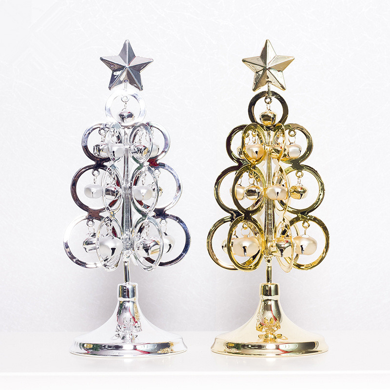 Metal Tabletop Christmas Tree: Silver/Gold Mini Metal Christmas Tree Table Decoration
