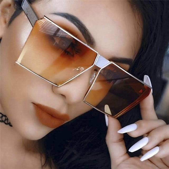 Новые 8 цветов Для женщин солнцезащитные очки Уникальных Негабаритных щит UV400 градиент Винтаж солнцезащитные очки большой металлической рамки для Для женщин #233111