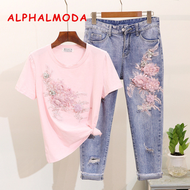ALPHALMODA 2019 Vogue Fashion 3D Flower Tshirts Ripped Jeans Women Stylish Heavy-work Embroidery Clothing Set Selling Separately