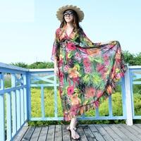 2017 Long Women Summer Beach Dress V Neck 3 4 Sleeve Plus Size XXXL Printed Floral