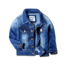 The boy in the spring and autumn 2017 new children denim jeans coat lapel jacket baby all-match wear long sleeved jacket