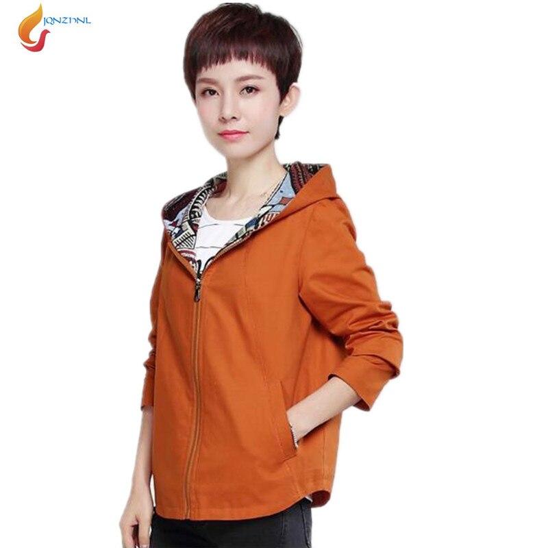 Xuân phụ nữ áo khoác 2017 thời trang new trùm đầu phụ nữ đoạn ngắn jacket elegant temperamentMiddle niên phụ nữ áo G174 JQNZHNL