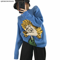 Lazy Oaf Cartoon Pattern Cute Sweater Women Autumn Winter Korean Fashion Oversized Sweater Knitted Pullovers Thick Jumpers Pull