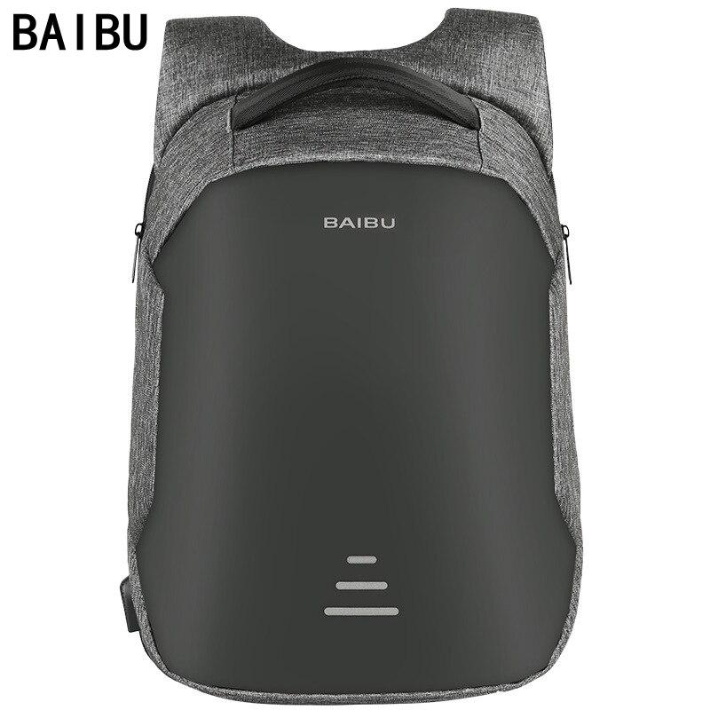 BAIBU Men Backpack Anti theft Waterproof USB Charging Laptop Backpack Student women School Bags For Teenagers