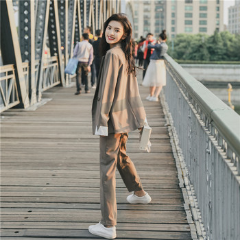 Women's suits female spring 2019 new temperament small suit casual pants two sets of solid color wild loose fashion clothes set 2019 spring hip hop clothes fashion letter printing tops light green pants suits female casual loose 2 piece sets