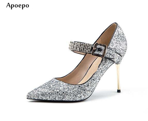 New Hot Selling Glitter Embellished High Heel Shoes 2018 Sexy Pointed Toe Ankle Strap Woman Pumps Crystal Wedding Heels new hot selling glitter embellished high heel shoes 2018 sexy pointed toe ankle strap woman pumps crystal wedding heels
