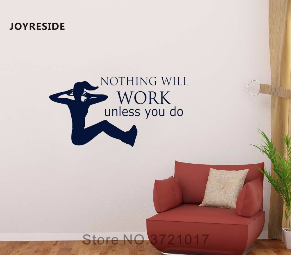 JOYRESIDE Nothing Will Work Unless You Do Wall Health Fitness Decal Vinyl Sticker Sports Room Living Room Quotes Decoration A086 ...