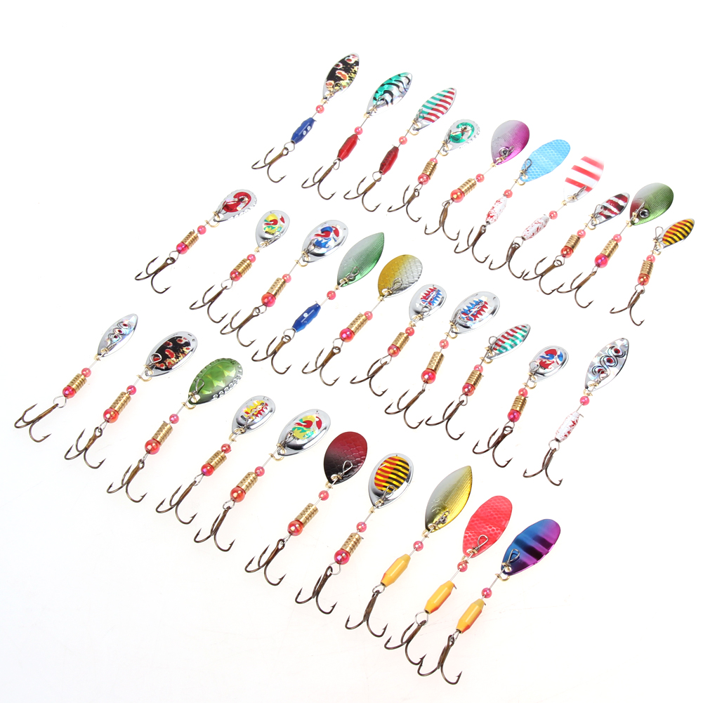 цены  Hot Sale 30pcs/lot Spinners Fishing Lure Mixed Color/Size/Weight Metal Spoon Lures Hard Bait Fishing Tackle Artificial Bait Lure
