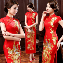Summer New Red Chinese Bride Wedding Qipao Dress Women Satin Long Slim Cheongsam Embroidery