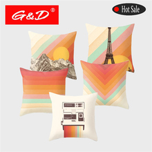 Fashion Geometric Polyester Cushion Cover Color Mountain Sun Print Home Car Sofa Decoration Pillow Case Cojines Decorativos Para