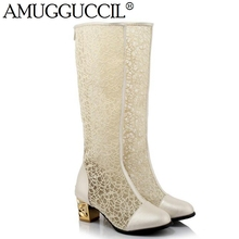 Новинка 2017 года большие Размеры 32-46 черный Белые, абрикосовые Кружево молния модные, пикантные на среднем каблуке Демисезонный для девочек женские Женские ботинки X163
