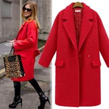 Plus Size S XXXL Women Medium Long Design Woolen Jacket Winter Thickening Cotton Padded Wool Coat