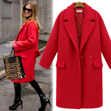 Plus Size S-XXXL Women Medium Long Design Woolen Jacket, Winter Thickening Cotton Padded Wool Coat