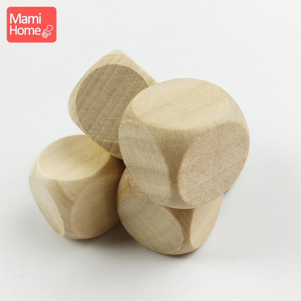 Mamihome 10pc 20mm Chewable Wood Toys Wooden Cube Blocks Unpainted Unfinished Crafts Accessories DIY Making Baby Teether