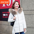 Плюс размер Асимметричная Длина пальто Женщин Зима 2016 Новый Lady Куртки Меха С Капюшоном воротник ветровки пальто Женщин Хлопка-проложенный M65