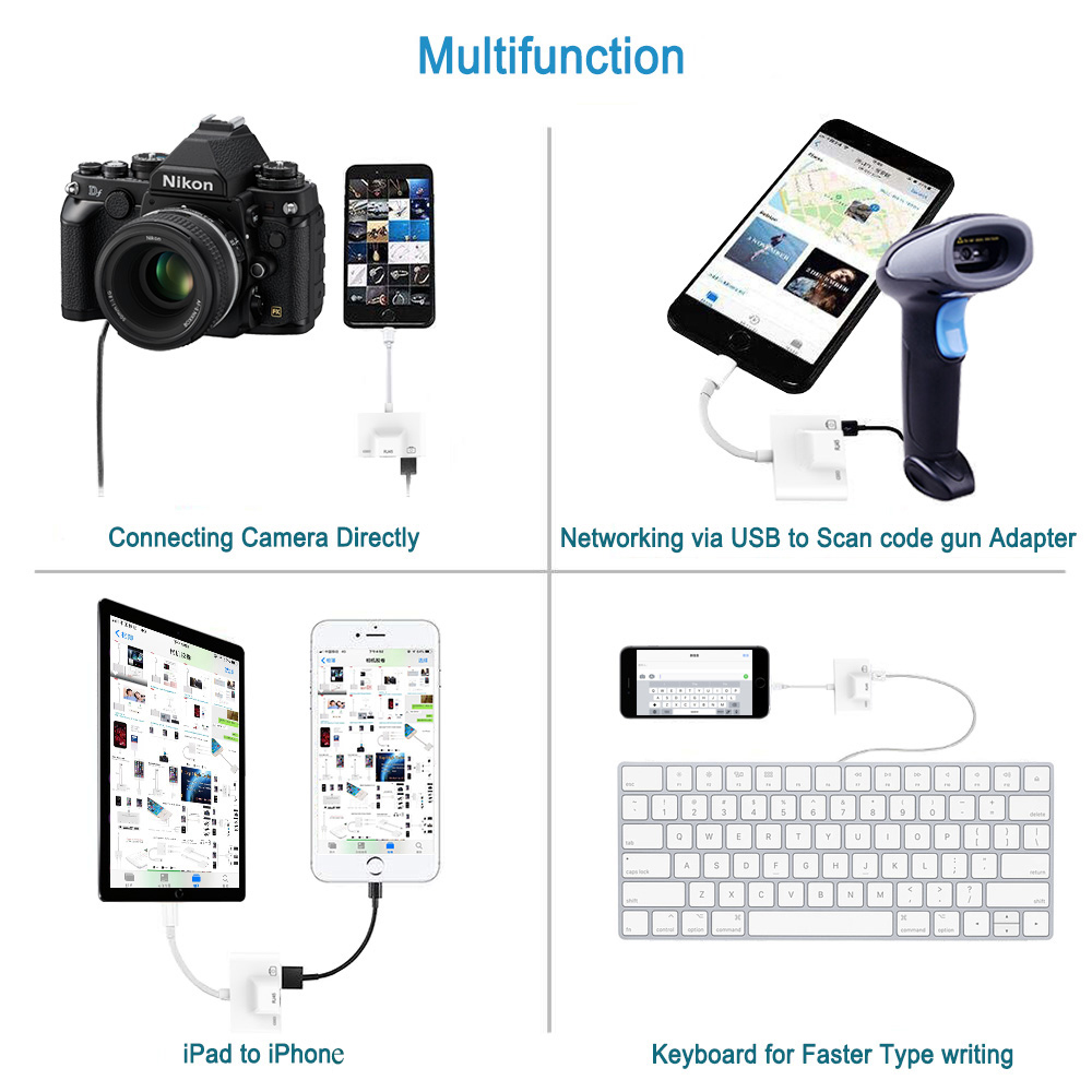 Adapter for Lightning to RJ45 Ethernet LAN Wired Network for iPhone X/XR/XS/8/iPad with USB 3 OTG Digital Camera Connection kits