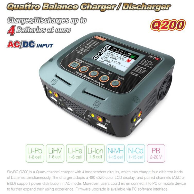 Original SkyRC Q200 QUATTRO AC/DC 2X100W 2X50W Lipo Battery Balance Charger Discharger For RC Car Models Part Accs