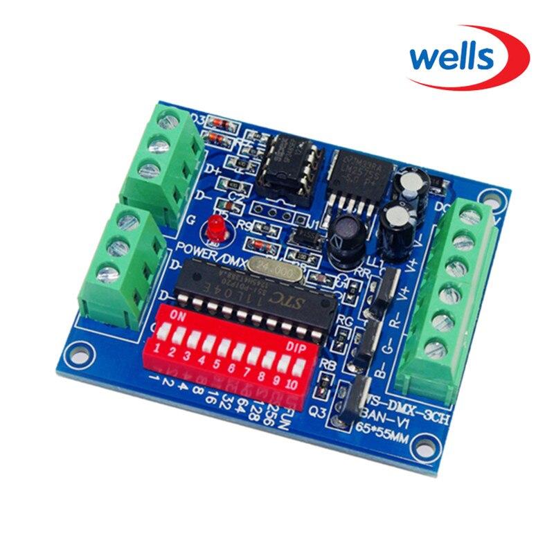 DC 5V-24V 3CH RGB ovladač, Channel Easy DMX DMX512 LED dekodér, stmívač, pohon pro LED