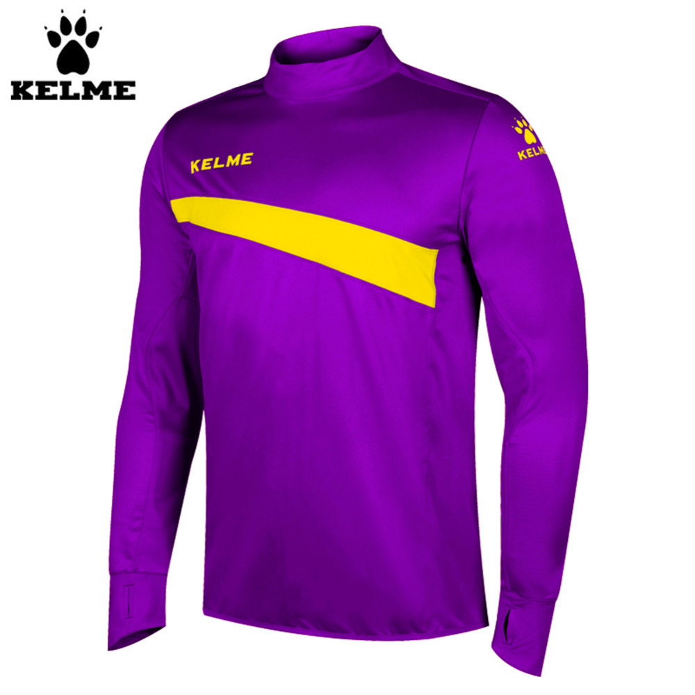 Kelme K15Z304 Men Soccer Jerseys Polyester Stand Collar Sharkskin Training Long-sleeved Pullover Purple цена 2017