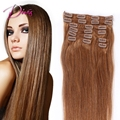 6A Grade Silk Straight #6 Clip in Human Hair Extensions 100% Brazilian Silky Clip In Hair 8pcs/set 120g