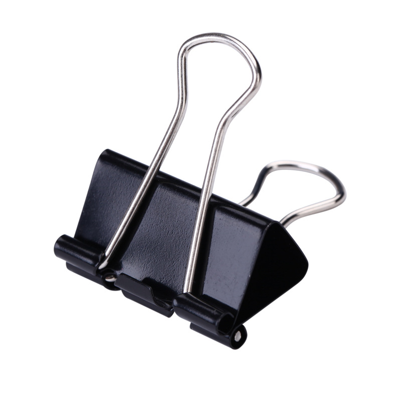 Black Metal Binder Clips 15/19/25/32/41/51mm Notes Letter Paper Clip Office Supplies Binding Securing clip Product deli new colorful candy paper clips 200pcs a barrels office stationery metal clips box pin binding supplies learn student clips