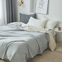 Junwell 100% Cotton Muslin Blanket Bed Sofa Travel Breathable Simple Lattice Large Soft Throw Blanket Para Blanket|Blankets|   -