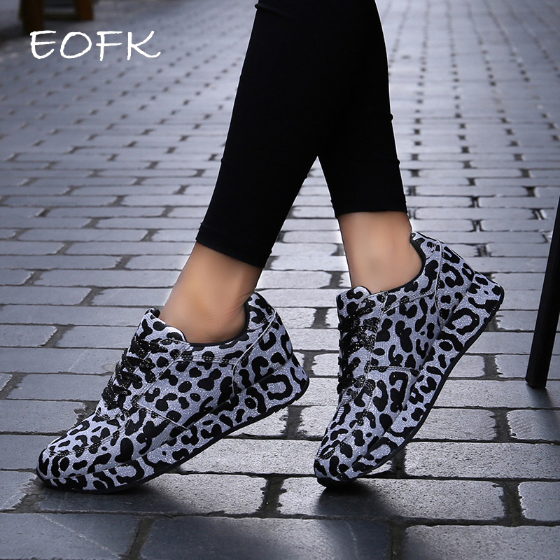 EOFK Women Fashion Sneakers Shoes Spring Autumn Leopard Pattern Design Fabric Comfortable Casual Sneakers Flats Shoes Women