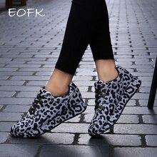 Zapatillas de deporte de moda para mujer EOFK zapatos de diseño de leopardo de primavera y otoño cómodos zapatillas de deporte casuales zapatos planos de mujer