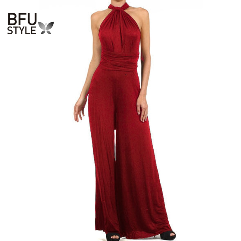 Summer Sexy Rompers Women Red Beach Long Bandage Multiway Convertible Jumpsuit Infinity Wrap Pants Wrap Trousers