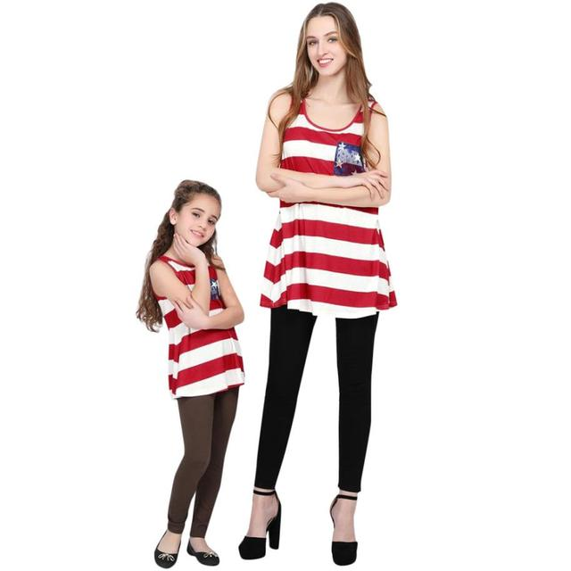 82318367e3cd MUQGEW Baby girls lace clothes women crop top MomMe Lady Mother Blouse 4th  Of July Family Tops Stars Striped T-Shirt Clothes. Price  US ...