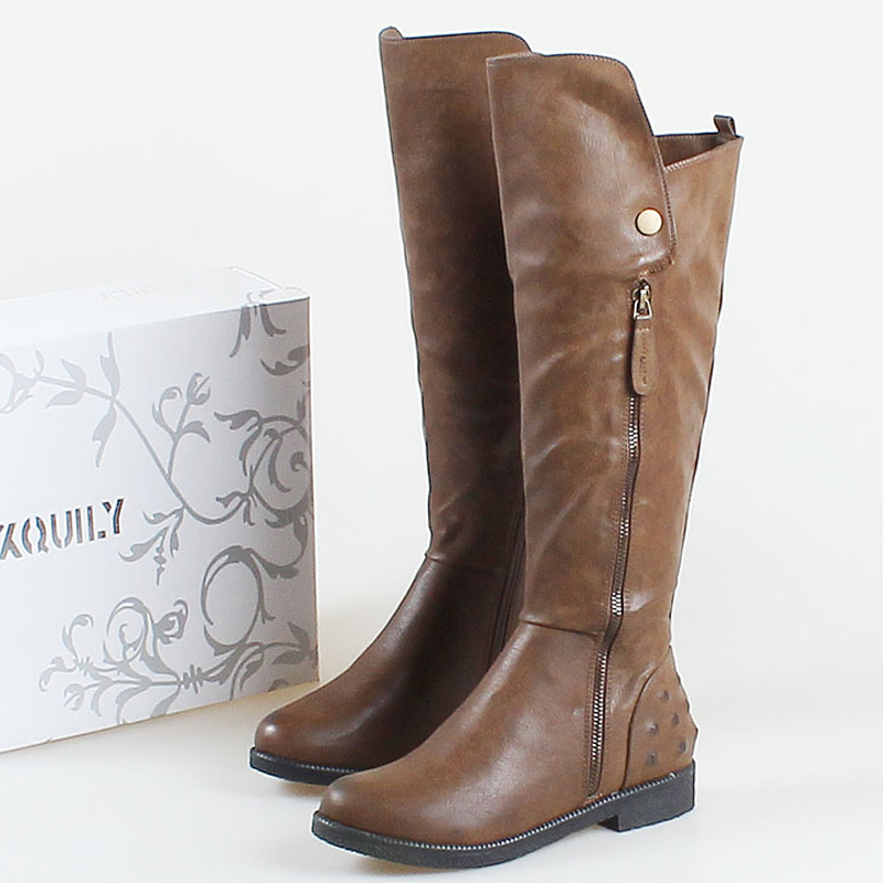 Nice plus size women fashion boots vintage side zipper winter ...