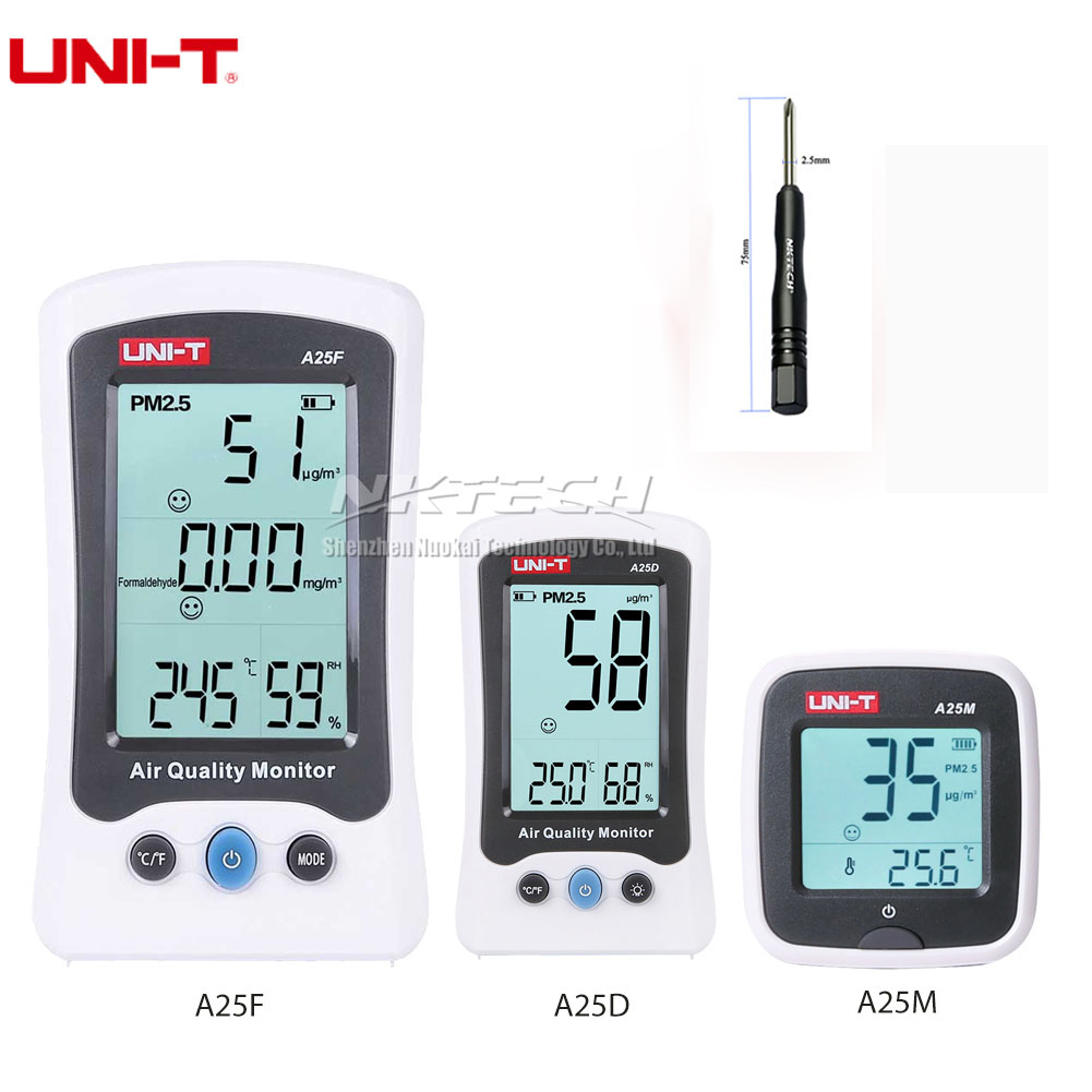 UNI T Air Quality Detector A25F A25D A25M Formaldehyde PM2.5 Monitor Meter Laser Temperature Humidity Indoor Polymer Battery