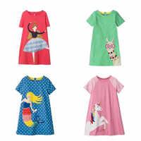 VIDMID-vestidos de manga corta para niñas, ropa de algodón para niñas, vestidos florales de verano, vestidos informales con apliques a rayas, ropa W01