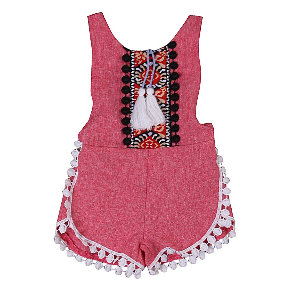 c8ac0cb562a0 Cute Ethnic Pendant Tassels Romper Newborn Baby Girls sleeveless Romper  Jumpsuit playsuit Sunsuit Set Clothes